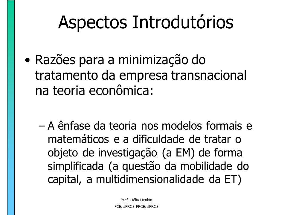 Prof. Hélio Henkin FCE/UFRGS PPGE/UFRGS Aspectos Introdutórios Razões para a minimização do tratamento da empresa transnacional na teoria econômica: –