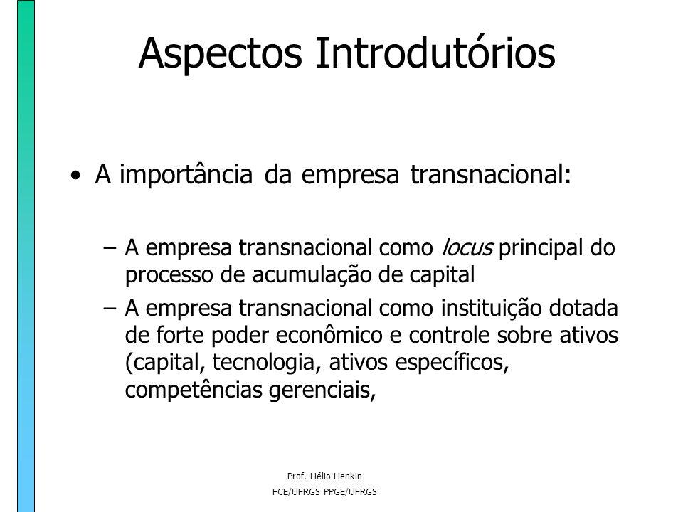 Prof. Hélio Henkin FCE/UFRGS PPGE/UFRGS Aspectos Introdutórios A importância da empresa transnacional: –A empresa transnacional como locus principal d