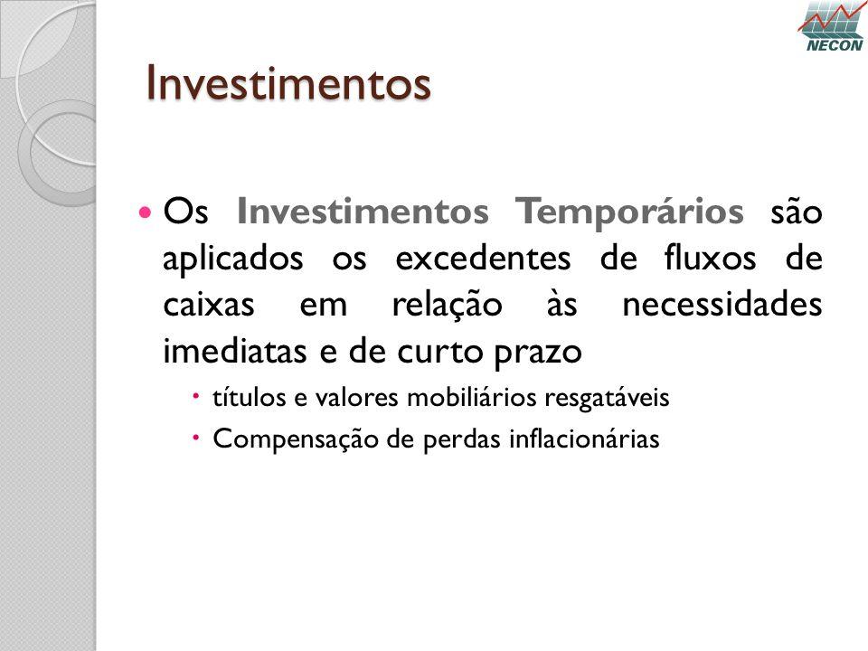 Investimentos Os Investimentos Temporários são aplicados os excedentes de fluxos de caixas em relação às necessidades imediatas e de curto prazo títul