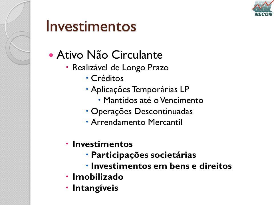 Investimentos Ativo Não Circulante Realizável de Longo Prazo Créditos Aplicações Temporárias LP Mantidos até o Vencimento Operações Descontinuadas Arr
