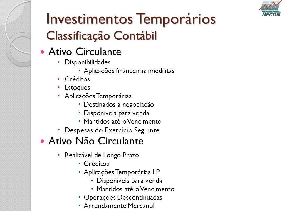 Investimentos Temporários Classificação Contábil Ativo Circulante Disponibilidades Aplicações financeiras imediatas Créditos Estoques Aplicações Tempo
