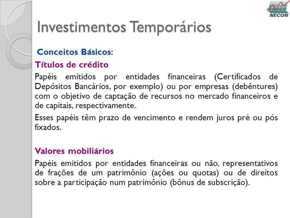 Investimentos Temporários Conceitos Básicos: Títulos de crédito Papéis emitidos por entidades financeiras (Certificados de Depósitos Bancários, por ex