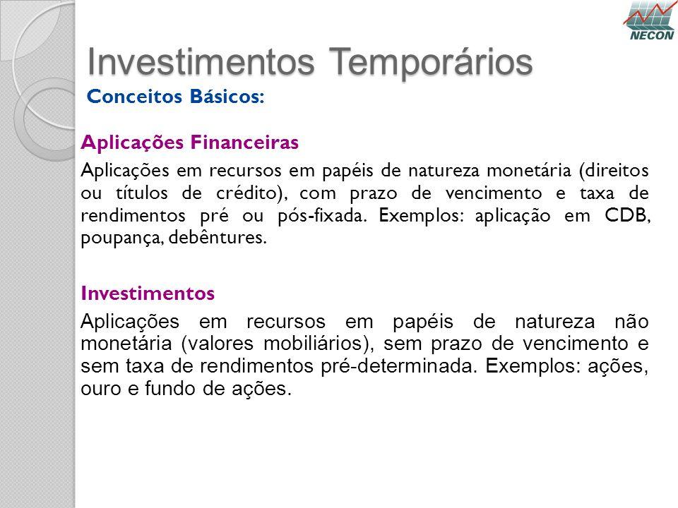 Investimentos Temporários Conceitos Básicos: Aplicações Financeiras Aplicações em recursos em papéis de natureza monetária (direitos ou títulos de cré
