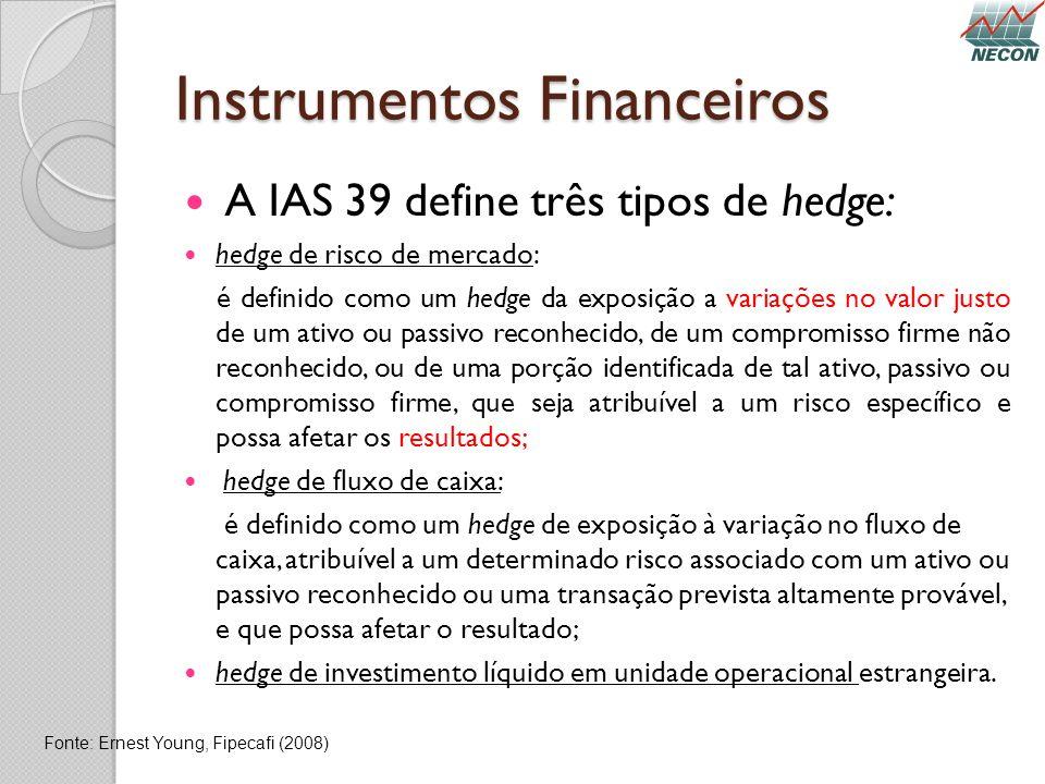 Instrumentos Financeiros A IAS 39 define três tipos de hedge: hedge de risco de mercado: é definido como um hedge da exposição a variações no valor ju