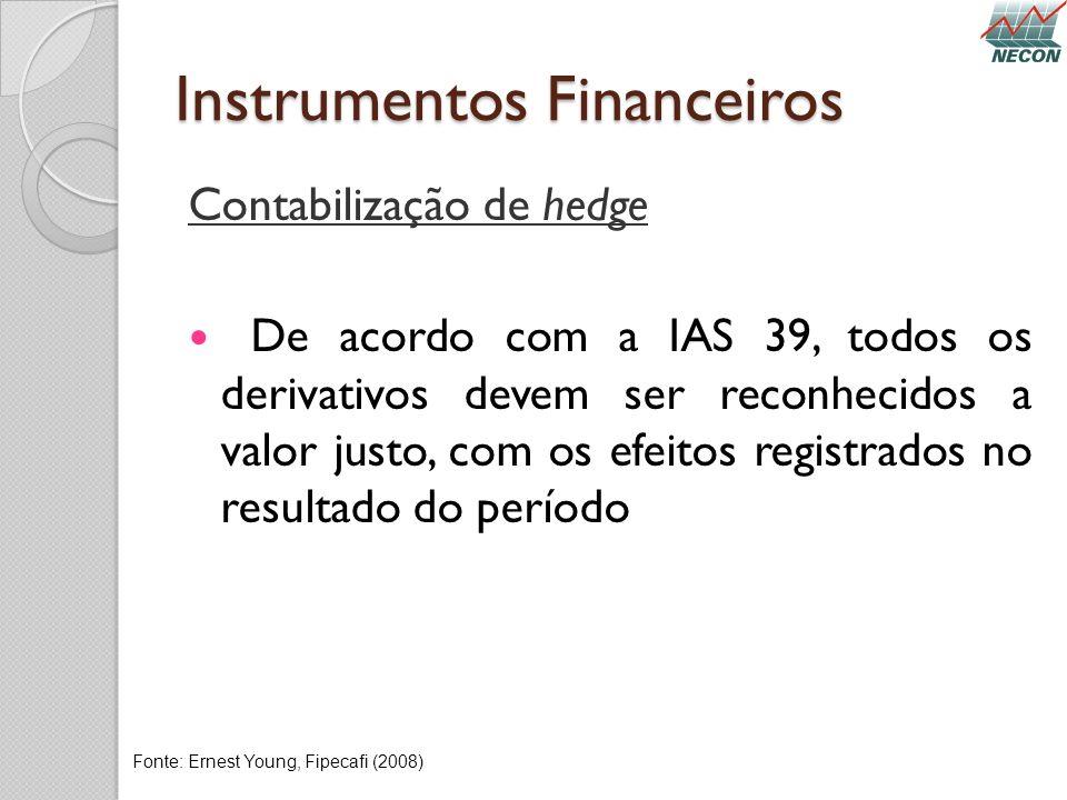 Instrumentos Financeiros Contabilização de hedge De acordo com a IAS 39, todos os derivativos devem ser reconhecidos a valor justo, com os efeitos reg