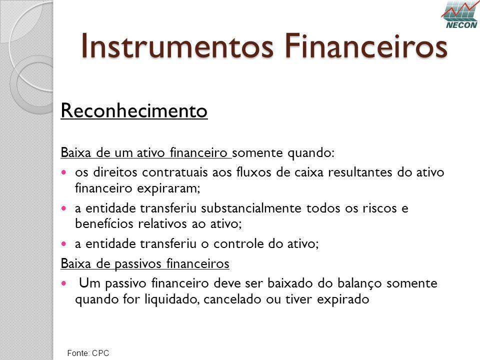 Instrumentos Financeiros Reconhecimento Baixa de um ativo financeiro somente quando: os direitos contratuais aos fluxos de caixa resultantes do ativo