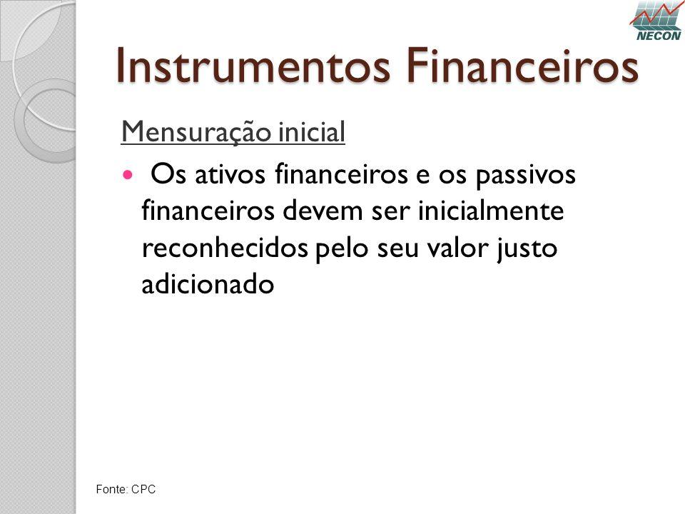 Instrumentos Financeiros Mensuração inicial Os ativos financeiros e os passivos financeiros devem ser inicialmente reconhecidos pelo seu valor justo a