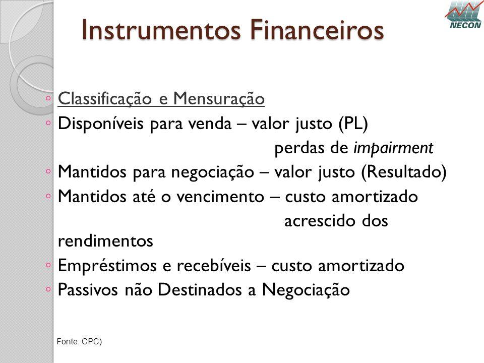 Instrumentos Financeiros Classificação e Mensuração Disponíveis para venda – valor justo (PL) perdas de impairment Mantidos para negociação – valor ju