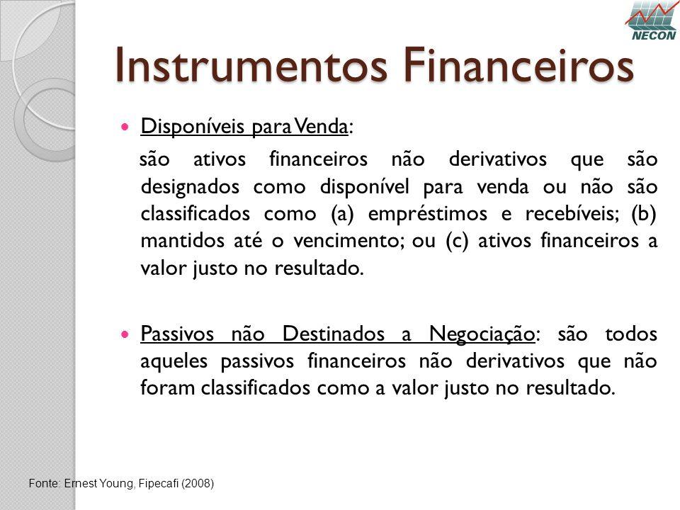 Instrumentos Financeiros Disponíveis para Venda: são ativos financeiros não derivativos que são designados como disponível para venda ou não são class