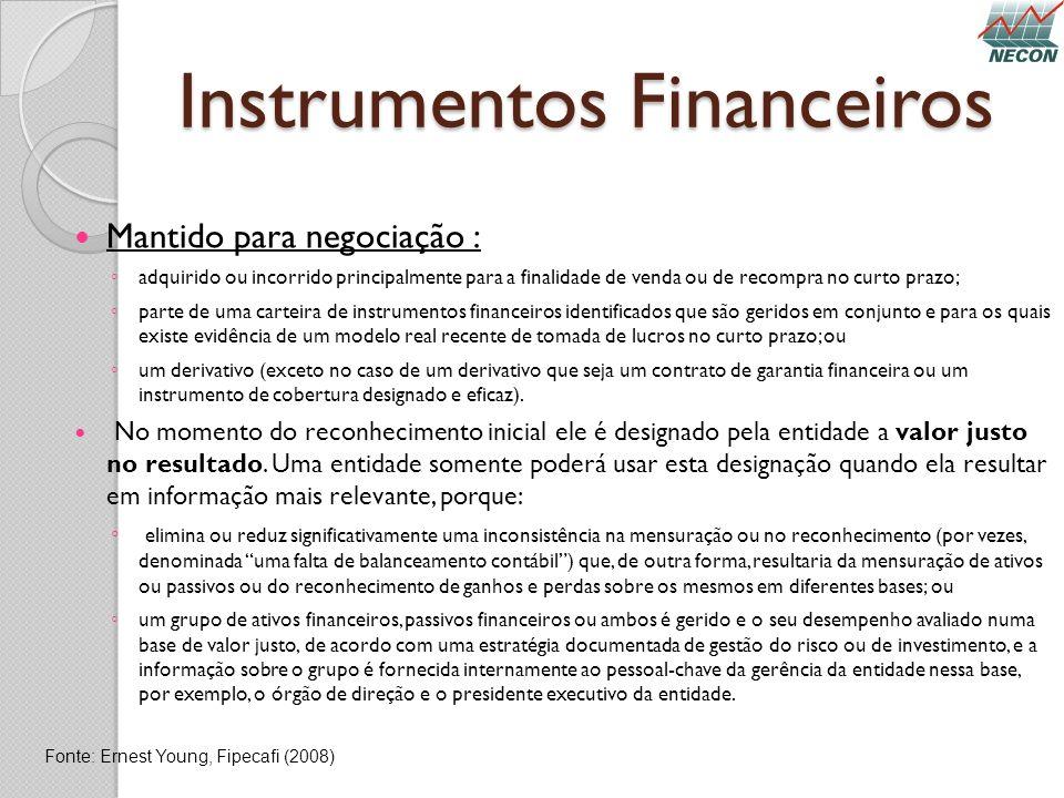 Instrumentos Financeiros Mantido para negociação : adquirido ou incorrido principalmente para a finalidade de venda ou de recompra no curto prazo; par