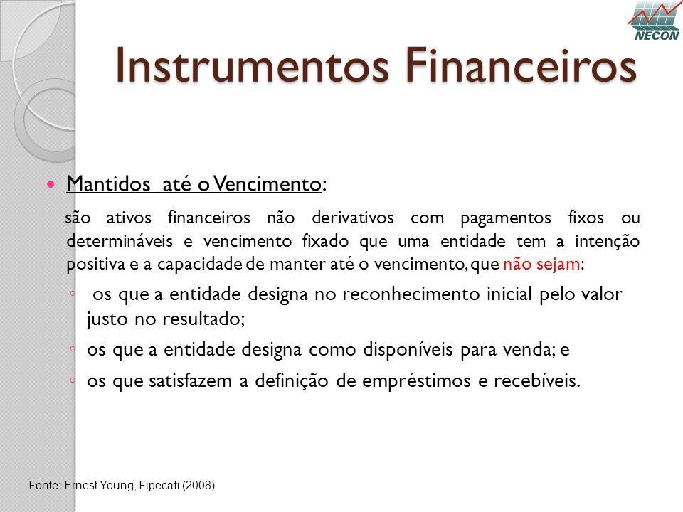 Instrumentos Financeiros Mantidos até o Vencimento: são ativos financeiros não derivativos com pagamentos fixos ou determináveis e vencimento fixado q