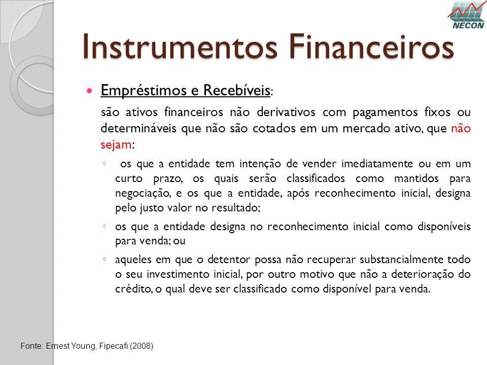 Instrumentos Financeiros Empréstimos e Recebíveis : são ativos financeiros não derivativos com pagamentos fixos ou determináveis que não são cotados e