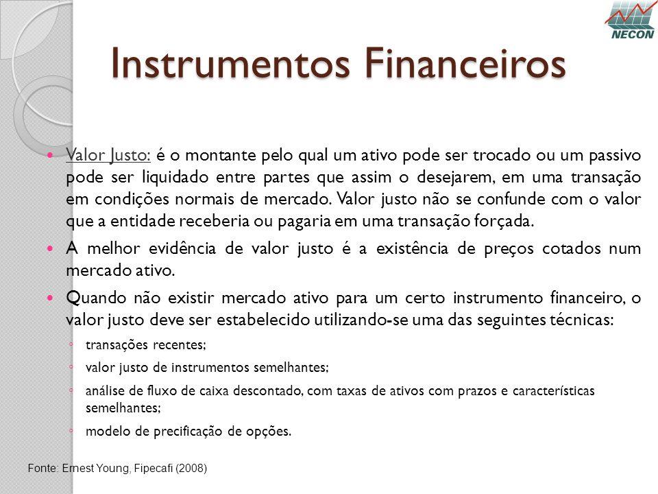 Instrumentos Financeiros Valor Justo: é o montante pelo qual um ativo pode ser trocado ou um passivo pode ser liquidado entre partes que assim o desej