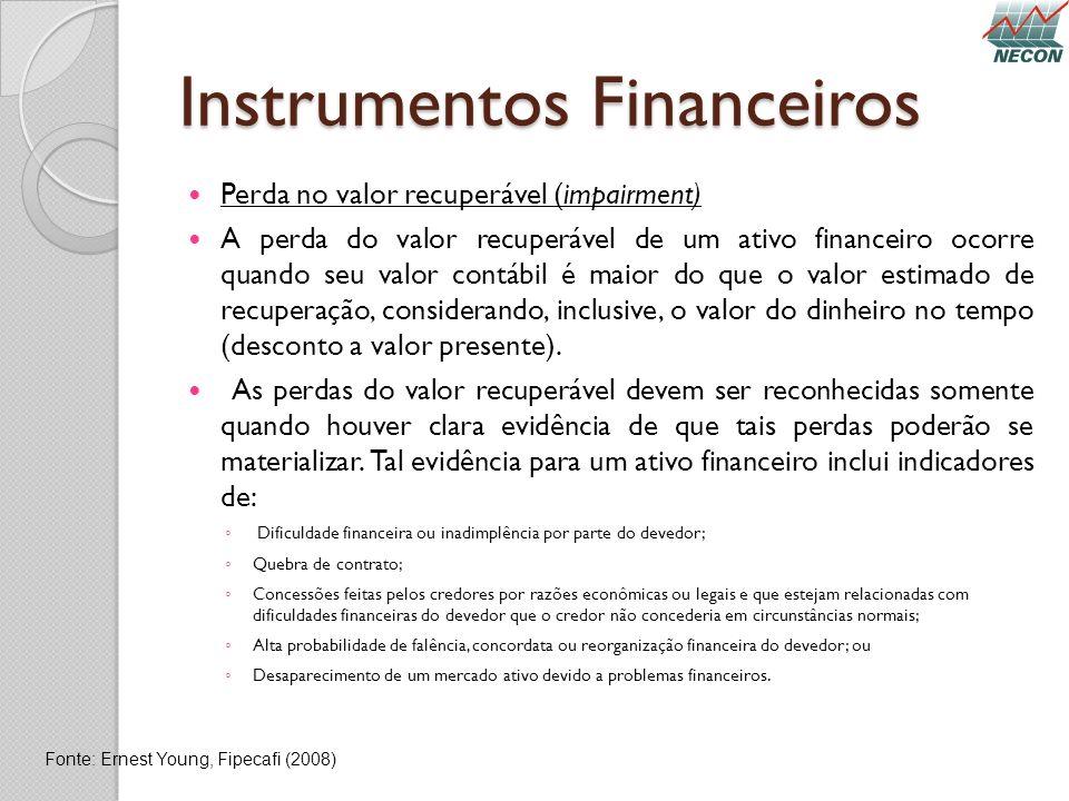 Instrumentos Financeiros Perda no valor recuperável (impairment) A perda do valor recuperável de um ativo financeiro ocorre quando seu valor contábil