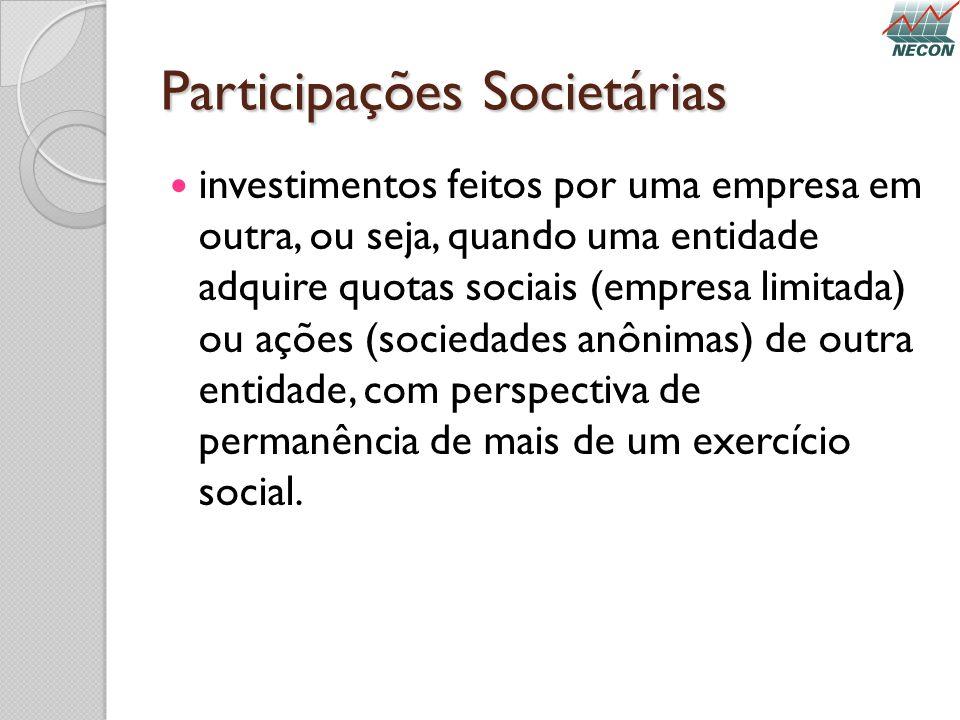 Participações Societárias investimentos feitos por uma empresa em outra, ou seja, quando uma entidade adquire quotas sociais (empresa limitada) ou açõ