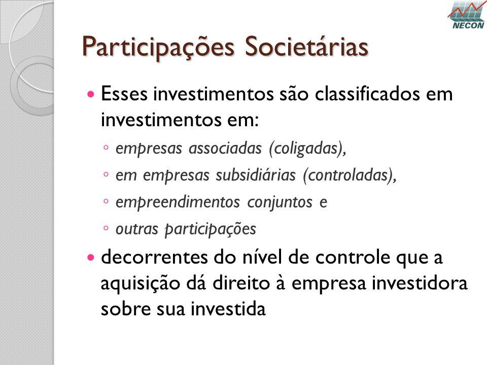 Participações Societárias Esses investimentos são classificados em investimentos em: empresas associadas (coligadas), em empresas subsidiárias (contro