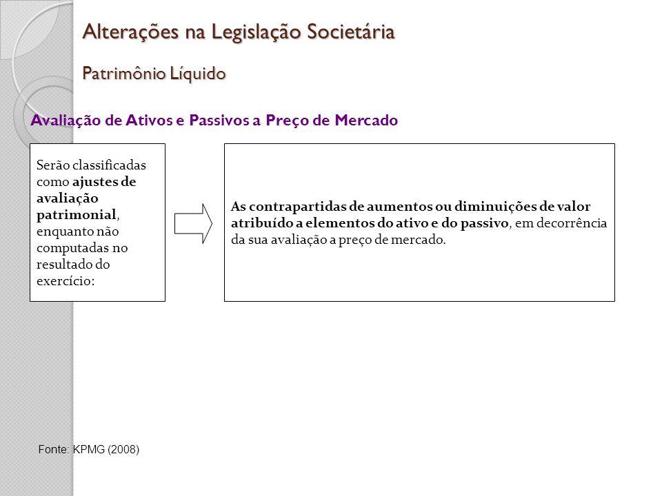 Alterações na Legislação Societária Patrimônio Líquido Avaliação de Ativos e Passivos a Preço de Mercado As contrapartidas de aumentos ou diminuições