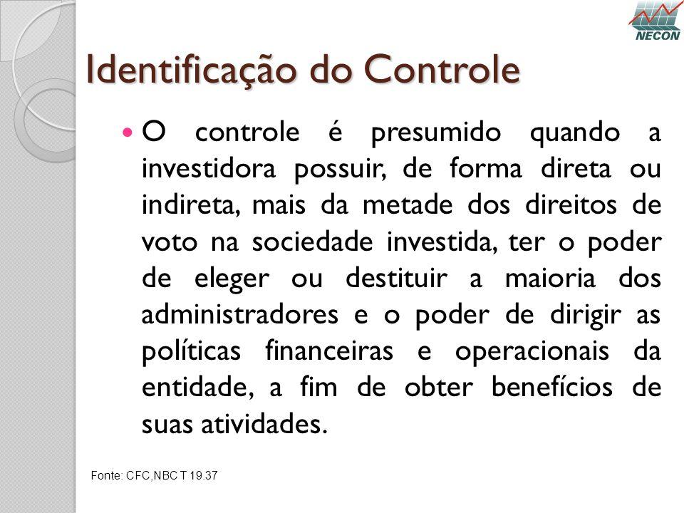 Identificação do Controle O controle é presumido quando a investidora possuir, de forma direta ou indireta, mais da metade dos direitos de voto na soc