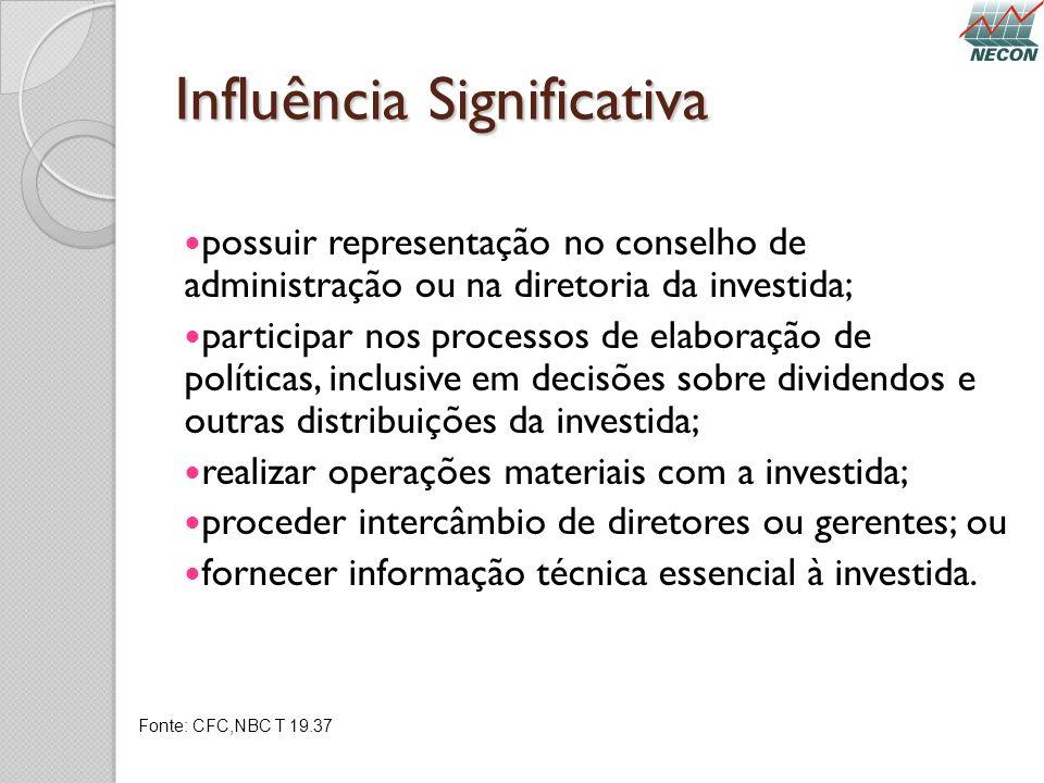 Influência Significativa possuir representação no conselho de administração ou na diretoria da investida; participar nos processos de elaboração de po
