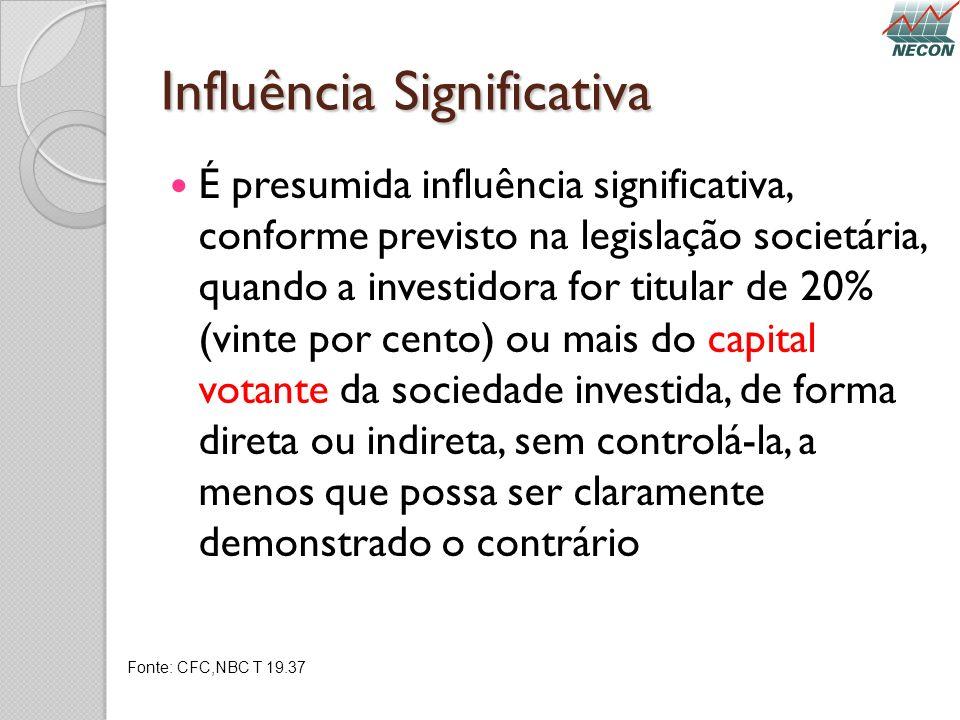 Influência Significativa É presumida influência significativa, conforme previsto na legislação societária, quando a investidora for titular de 20% (vi