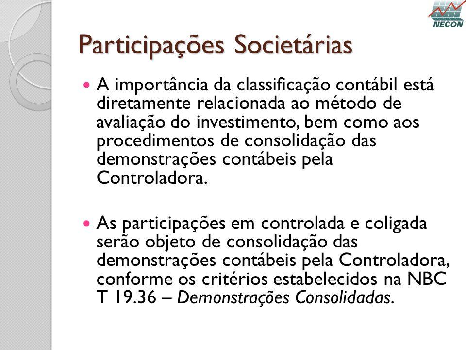 Participações Societárias A importância da classificação contábil está diretamente relacionada ao método de avaliação do investimento, bem como aos pr