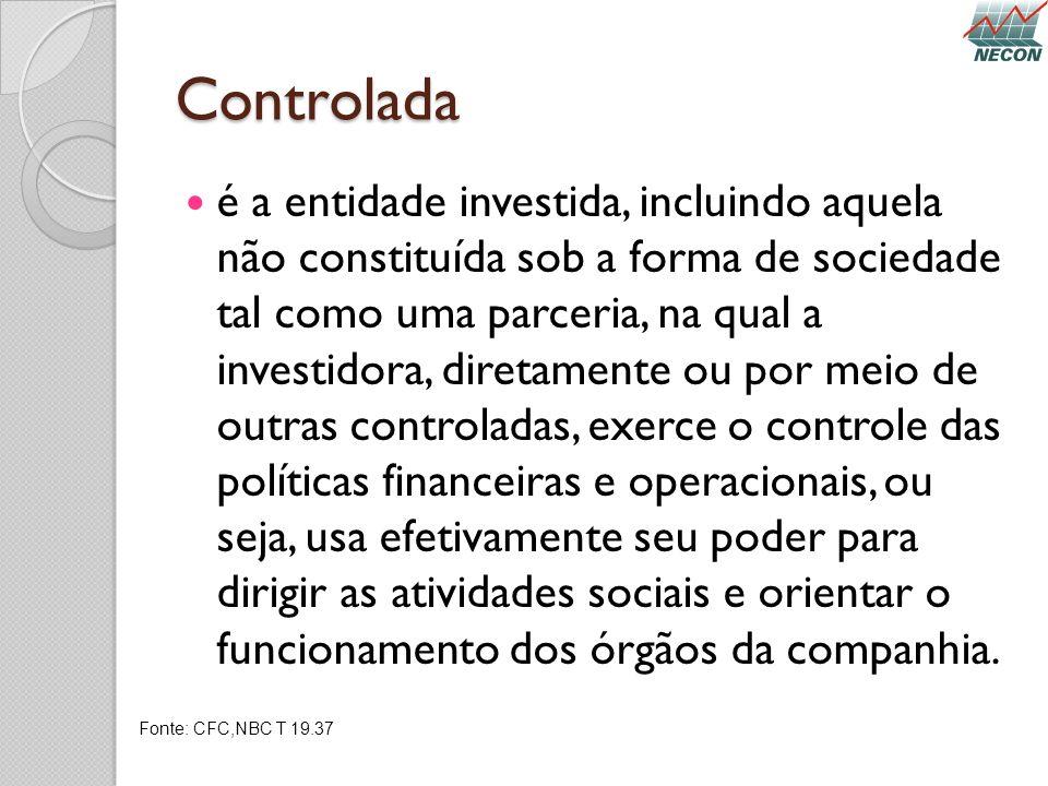 Controlada é a entidade investida, incluindo aquela não constituída sob a forma de sociedade tal como uma parceria, na qual a investidora, diretamente
