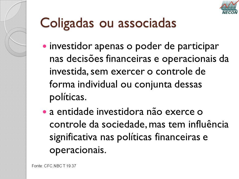 Coligadas ou associadas investidor apenas o poder de participar nas decisões financeiras e operacionais da investida, sem exercer o controle de forma