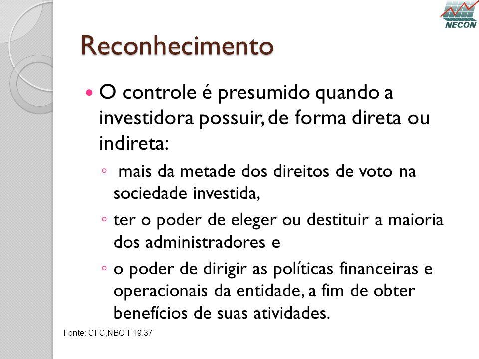 Reconhecimento O controle é presumido quando a investidora possuir, de forma direta ou indireta: mais da metade dos direitos de voto na sociedade inve