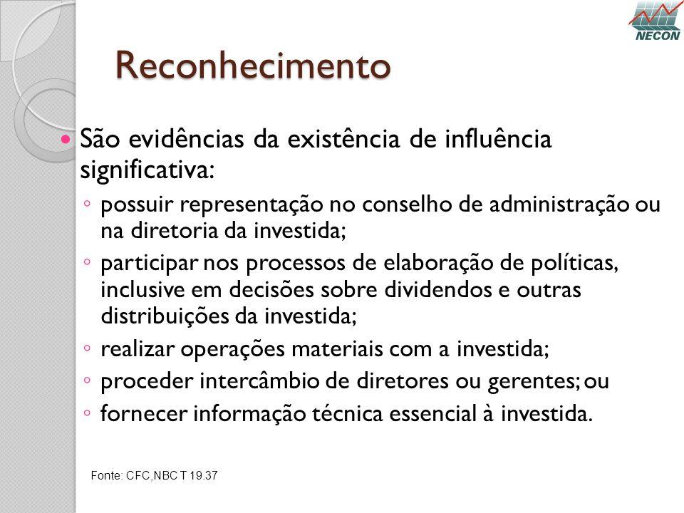 Reconhecimento São evidências da existência de influência significativa: possuir representação no conselho de administração ou na diretoria da investi