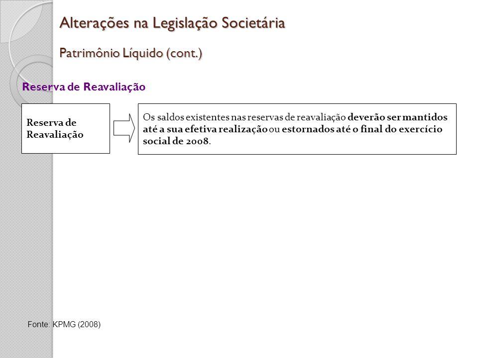 Alterações na Legislação Societária Patrimônio Líquido (cont.) Reserva de Reavaliação Os saldos existentes nas reservas de reavaliação deverão ser man