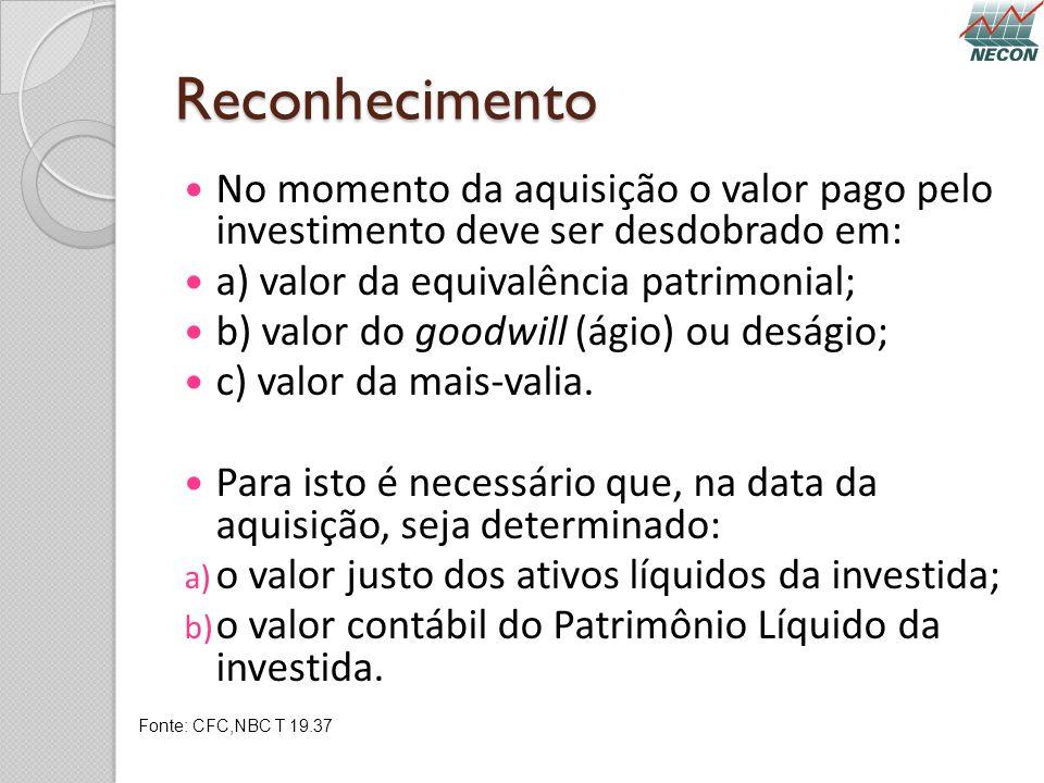 Reconhecimento No momento da aquisição o valor pago pelo investimento deve ser desdobrado em: a) valor da equivalência patrimonial; b) valor do goodwi
