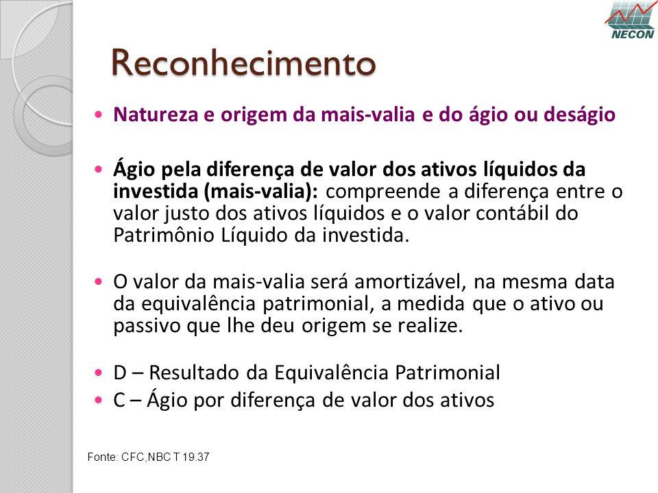 Reconhecimento Natureza e origem da mais-valia e do ágio ou deságio Ágio pela diferença de valor dos ativos líquidos da investida (mais-valia): compre
