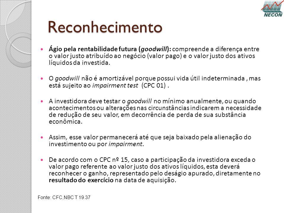 Reconhecimento Ágio pela rentabilidade futura (goodwill): compreende a diferença entre o valor justo atribuído ao negócio (valor pago) e o valor justo