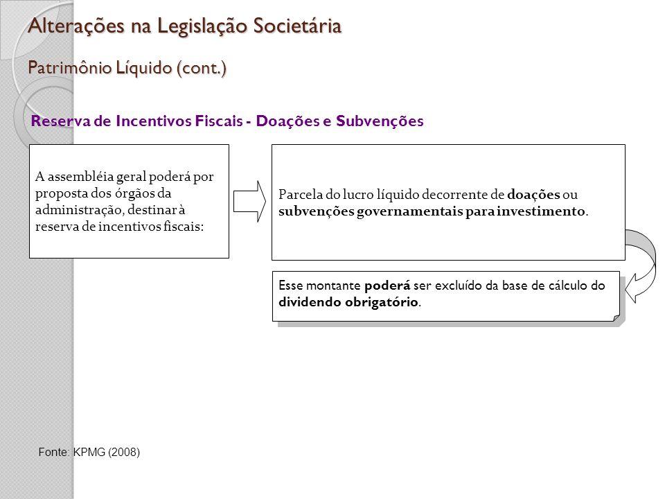 Alterações na Legislação Societária Patrimônio Líquido (cont.) Reserva de Incentivos Fiscais - Doações e Subvenções A assembléia geral poderá por prop