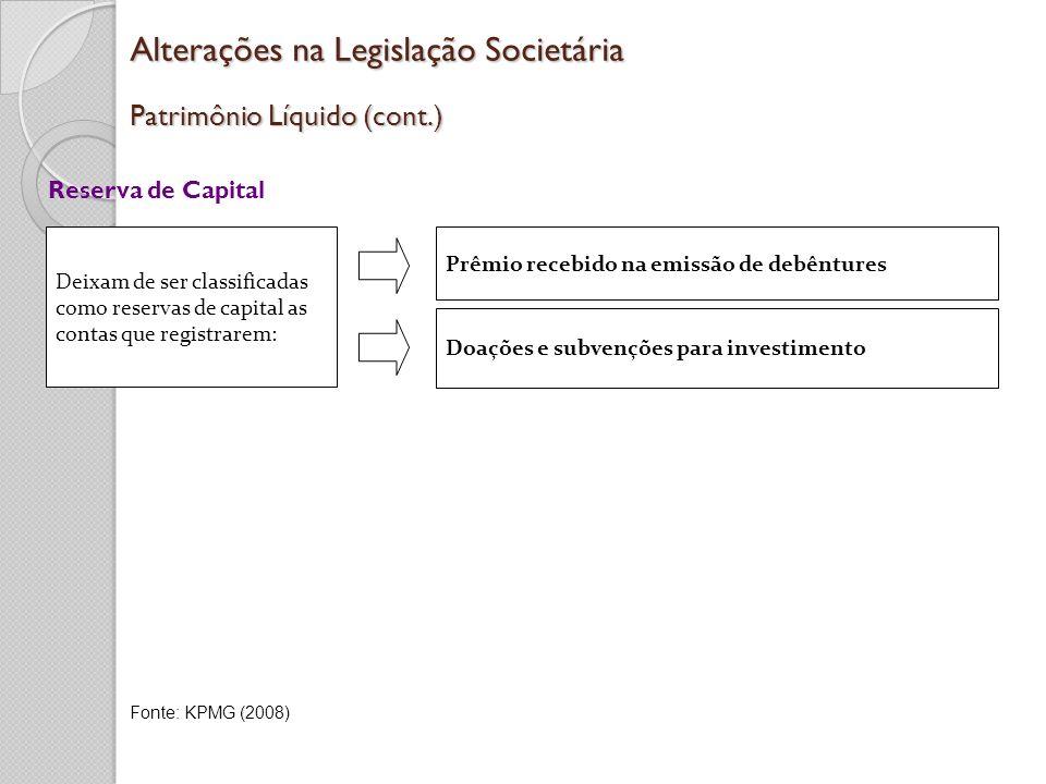 Alterações na Legislação Societária Patrimônio Líquido (cont.) Reserva de Capital Deixam de ser classificadas como reservas de capital as contas que r