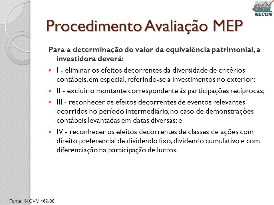 Procedimento Avaliação MEP Para a determinação do valor da equivalência patrimonial, a investidora deverá: I - eliminar os efeitos decorrentes da dive