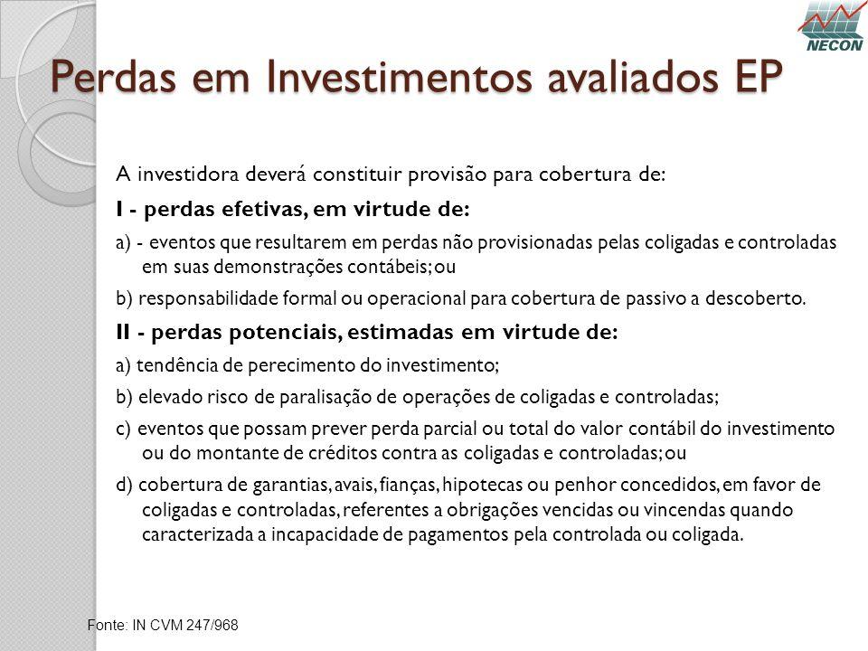 Perdas em Investimentos avaliados EP A investidora deverá constituir provisão para cobertura de: I - perdas efetivas, em virtude de: a) - eventos que