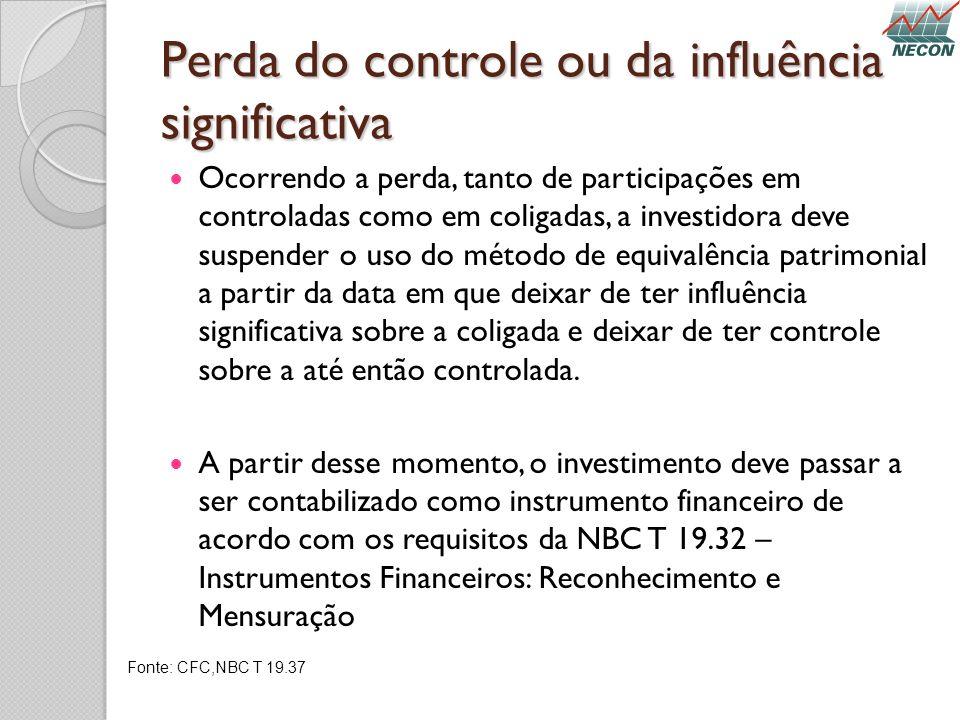 Perda do controle ou da influência significativa Ocorrendo a perda, tanto de participações em controladas como em coligadas, a investidora deve suspen