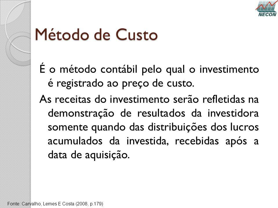 Método de Custo É o método contábil pelo qual o investimento é registrado ao preço de custo. As receitas do investimento serão refletidas na demonstra