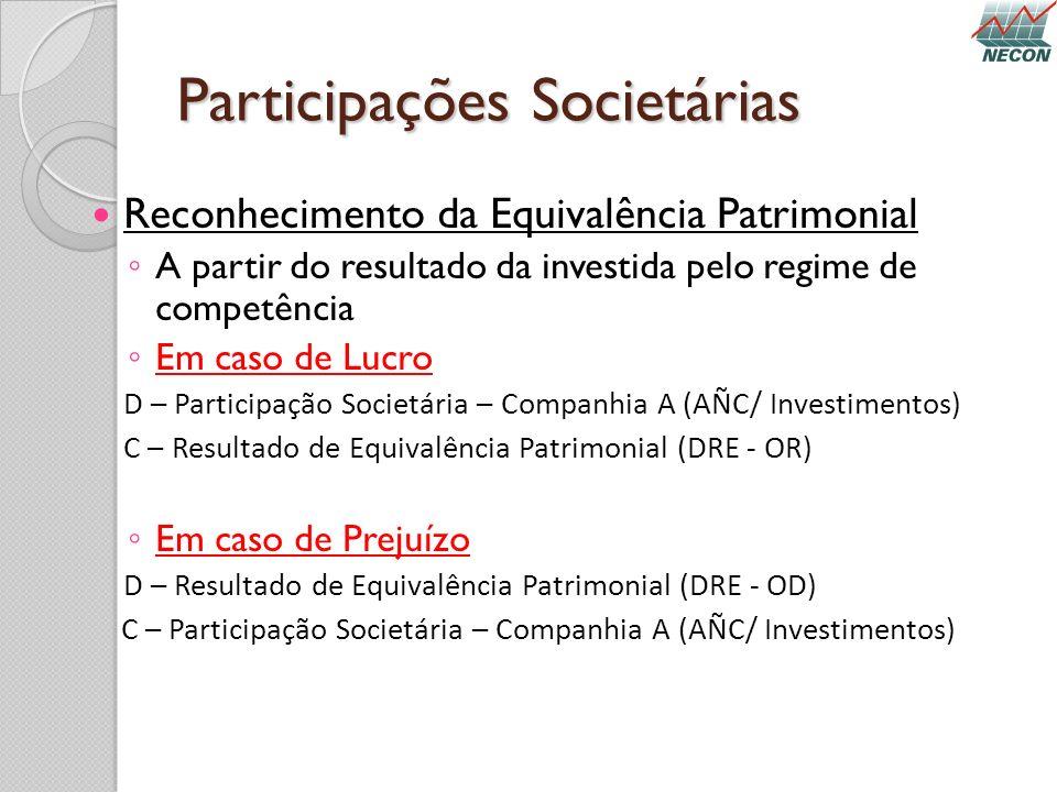 Participações Societárias Reconhecimento da Equivalência Patrimonial A partir do resultado da investida pelo regime de competência Em caso de Lucro D
