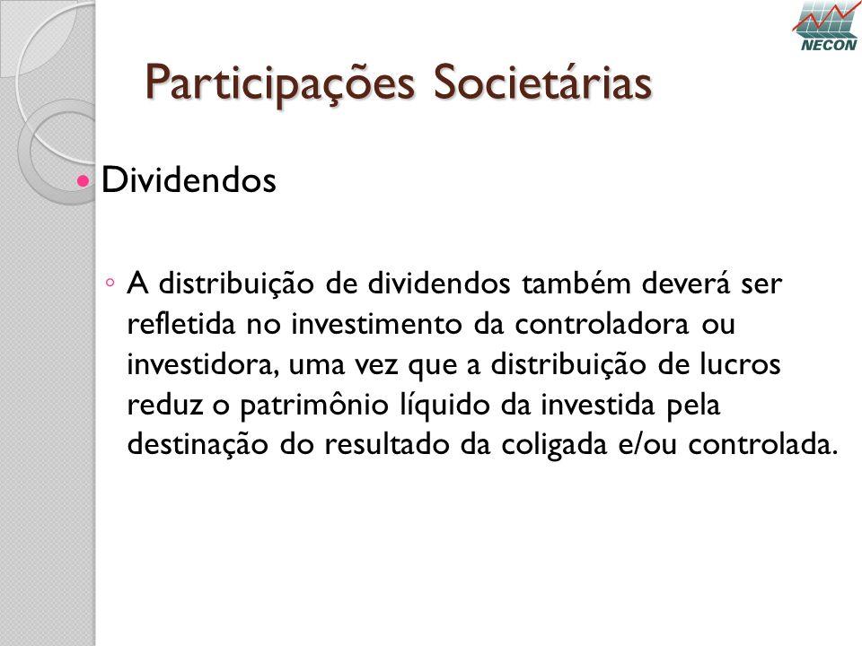 Participações Societárias Dividendos A distribuição de dividendos também deverá ser refletida no investimento da controladora ou investidora, uma vez