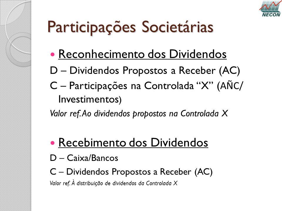 Participações Societárias Reconhecimento dos Dividendos D – Dividendos Propostos a Receber (AC) C – Participações na Controlada X ( AÑC/ Investimentos