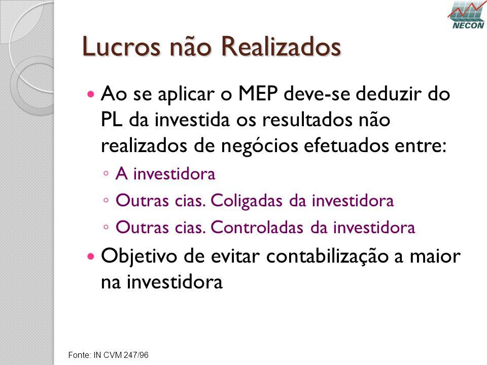 Lucros não Realizados Ao se aplicar o MEP deve-se deduzir do PL da investida os resultados não realizados de negócios efetuados entre: A investidora O