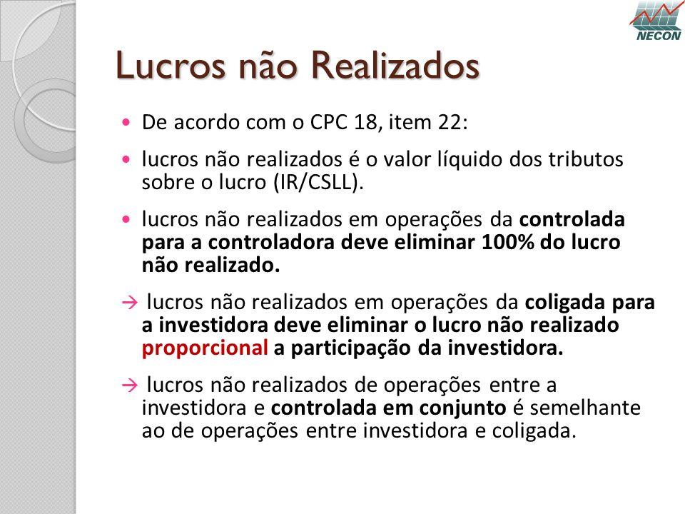 Lucros não Realizados De acordo com o CPC 18, item 22: lucros não realizados é o valor líquido dos tributos sobre o lucro (IR/CSLL). lucros não realiz