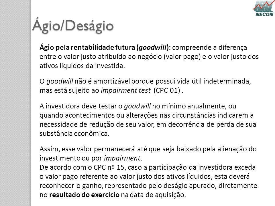 Ágio/Deságio Ágio pela rentabilidade futura (goodwill): compreende a diferença entre o valor justo atribuído ao negócio (valor pago) e o valor justo d