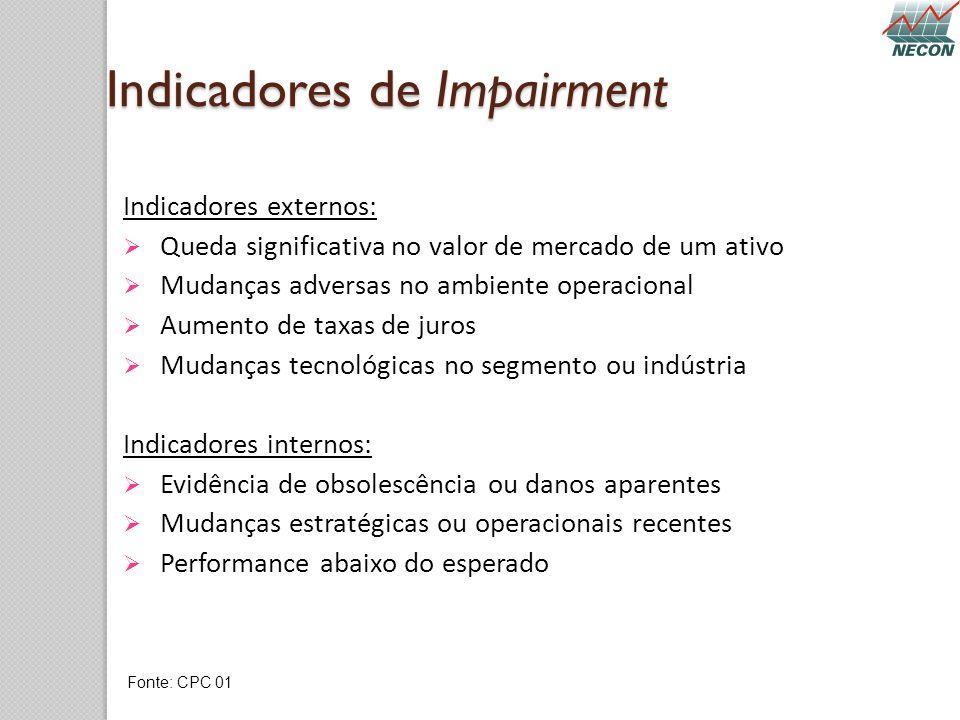 Indicadores de Impairment Indicadores externos: Queda significativa no valor de mercado de um ativo Mudanças adversas no ambiente operacional Aumento