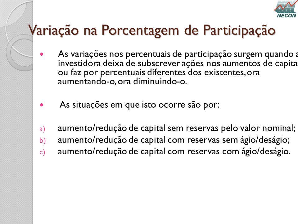 Variação na Porcentagem de Participação As variações nos percentuais de participação surgem quando a investidora deixa de subscrever ações nos aumento