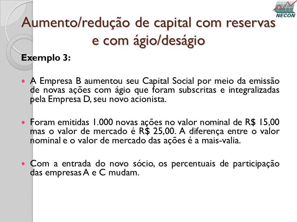 Aumento/redução de capital com reservas e com ágio/deságio Exemplo 3: A Empresa B aumentou seu Capital Social por meio da emissão de novas ações com á