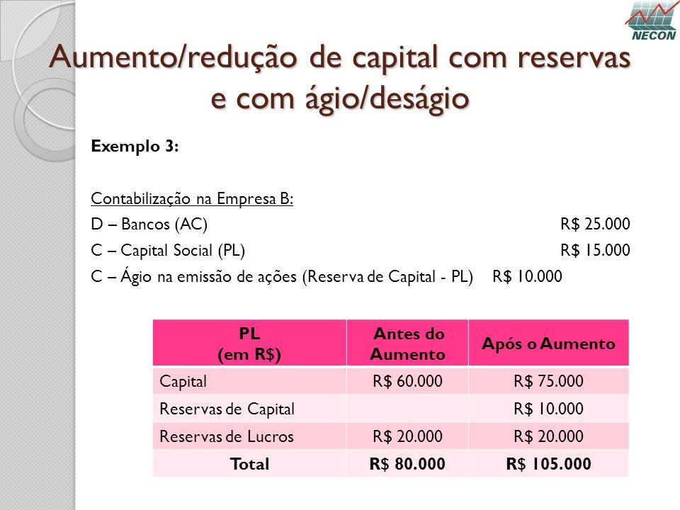 Aumento/redução de capital com reservas e com ágio/deságio Exemplo 3: Contabilização na Empresa B: D – Bancos (AC)R$ 25.000 C – Capital Social (PL)R$