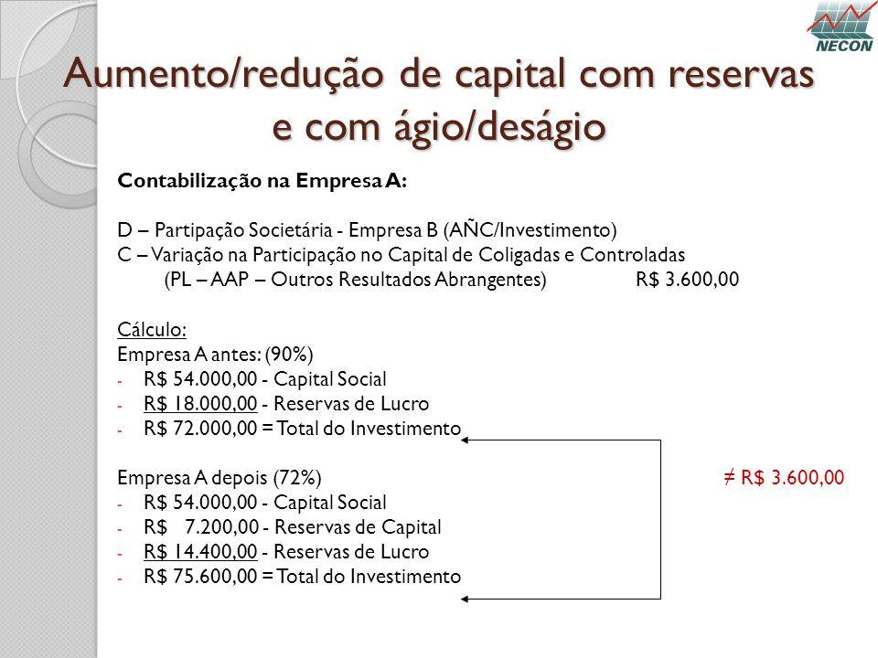 Aumento/redução de capital com reservas e com ágio/deságio Contabilização na Empresa A: D – Partipação Societária - Empresa B (AÑC/Investimento) C – V